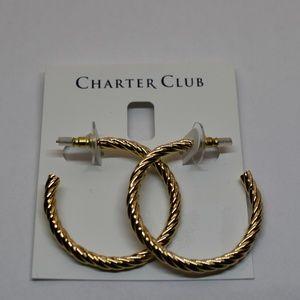 Charter Club Gold Tone Twist Hoop Earrings